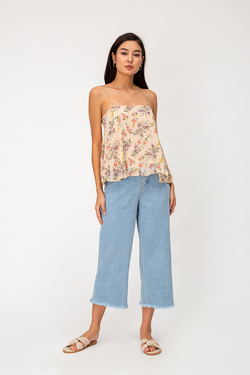 LORETTA PLEATED CHIFFON FLORAL TOP