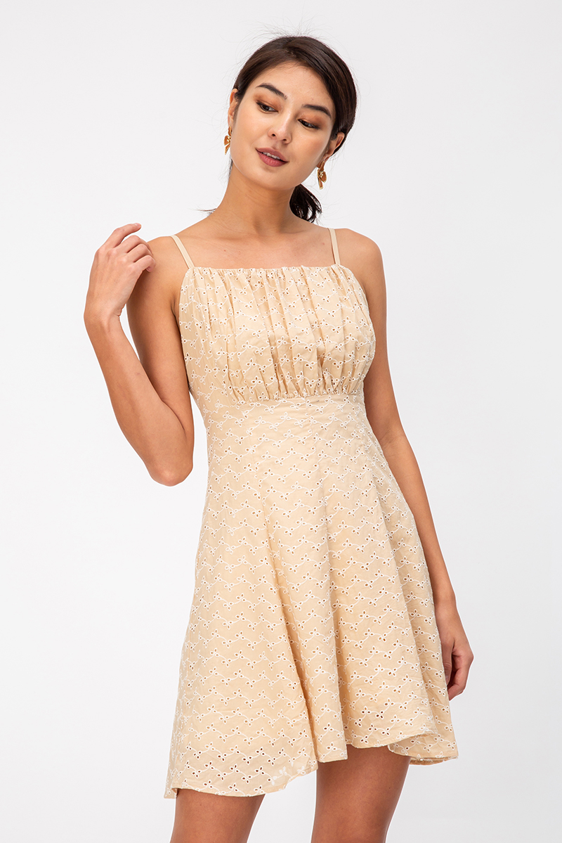 SUZI EYELET RUCHED MINI DRESS