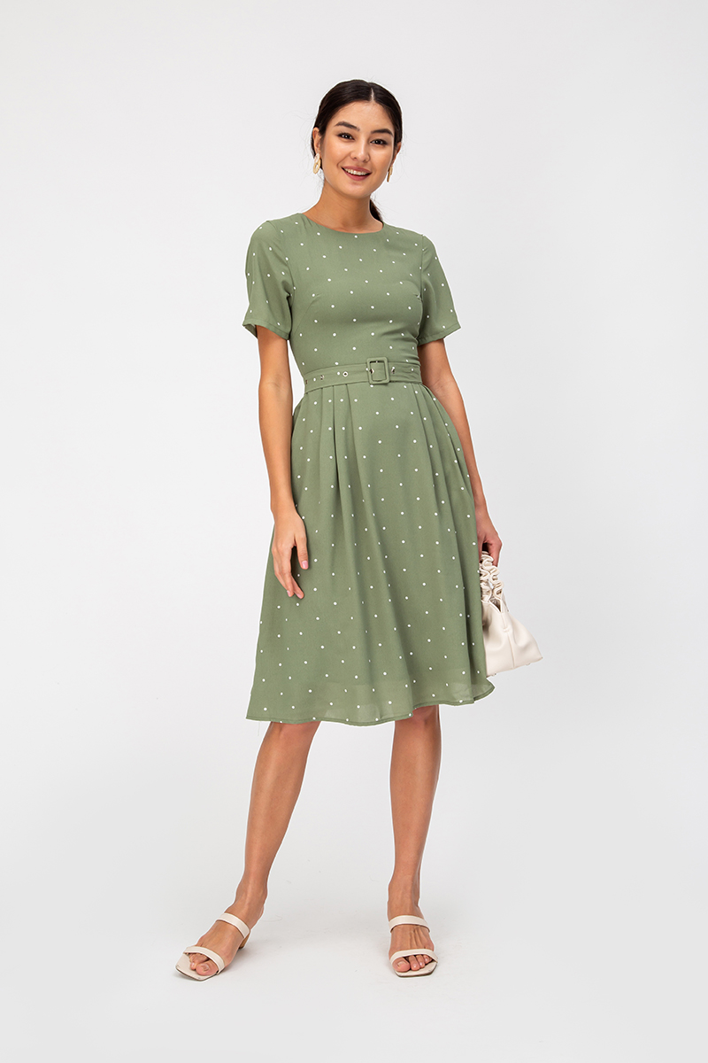QUENDI POLKADOT SWING DRESS W BELT