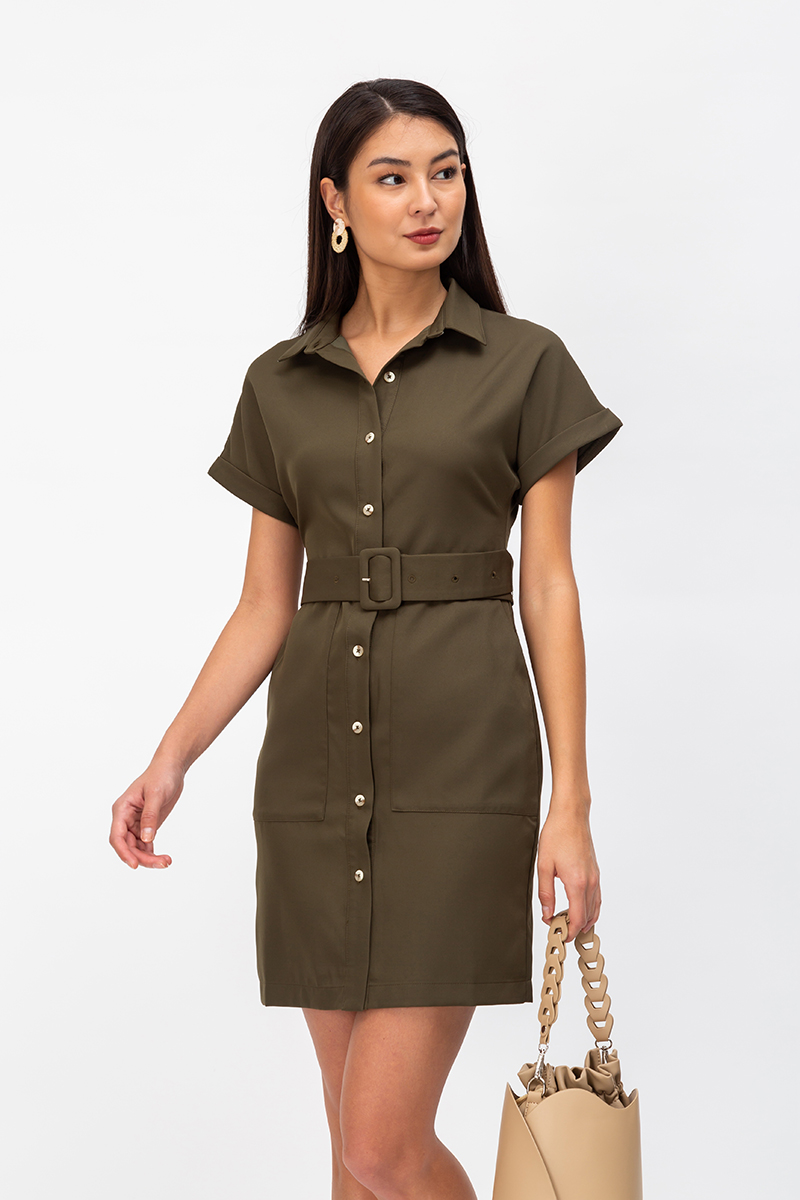 LUCINDA BUTTONDOWN SHIRT DRESS W BELT