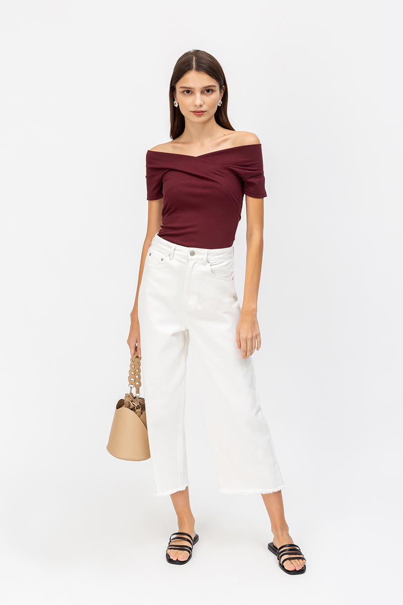 BETHANY OFF SHOULDER RIBBED TOP