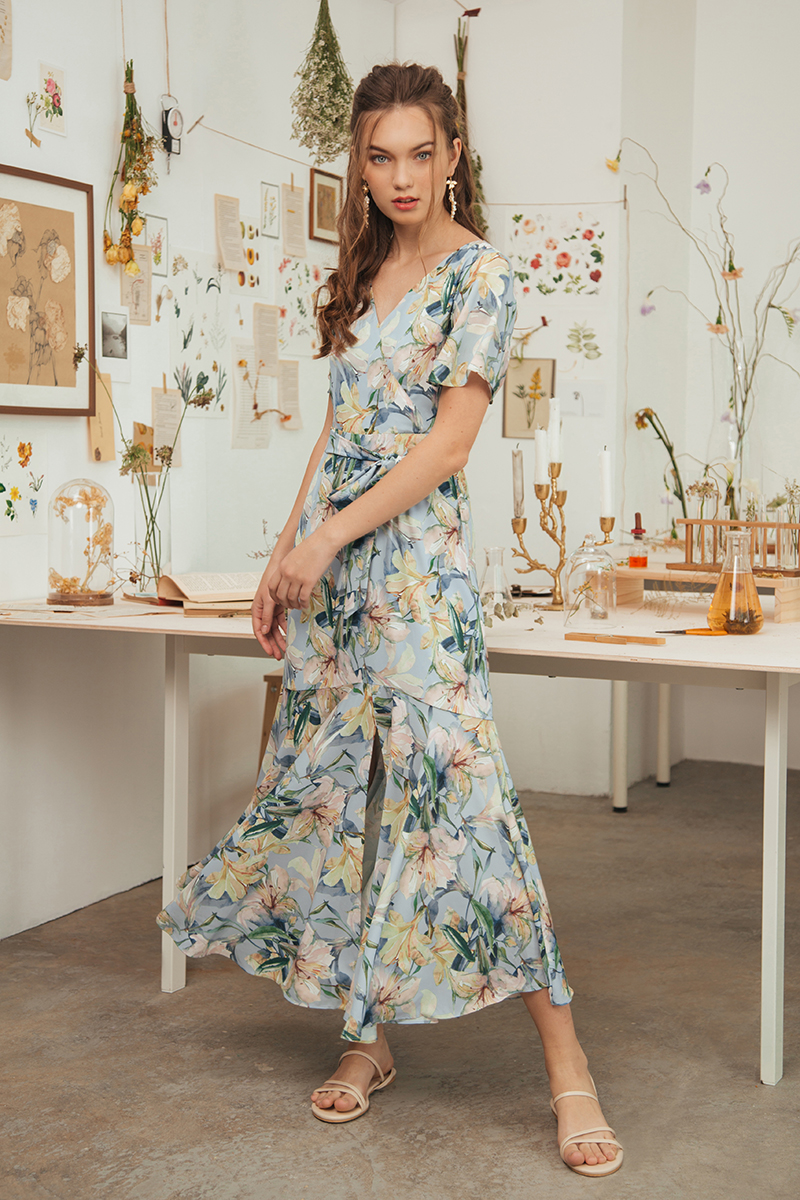 SINCLAIR FLORAL WRAP MAXI DRESS W SASH