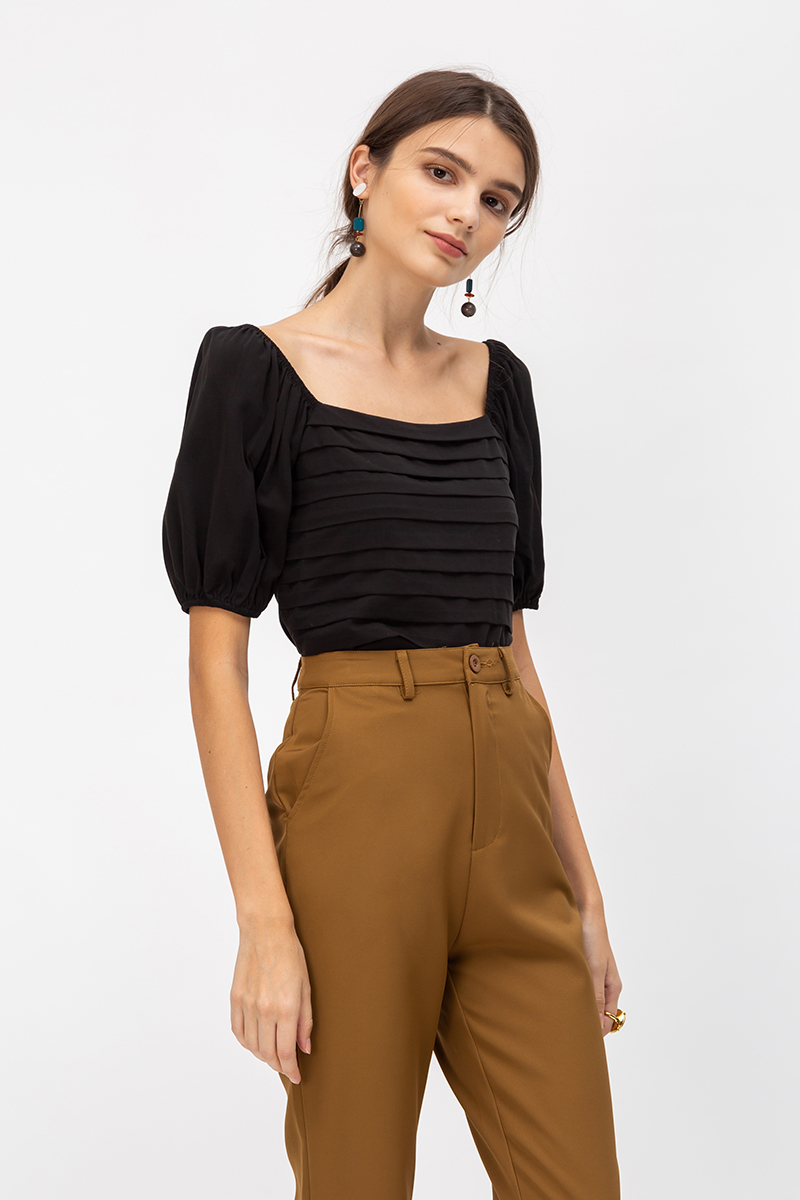 CLARISSA PANEL PUFF SLEEVE TOP