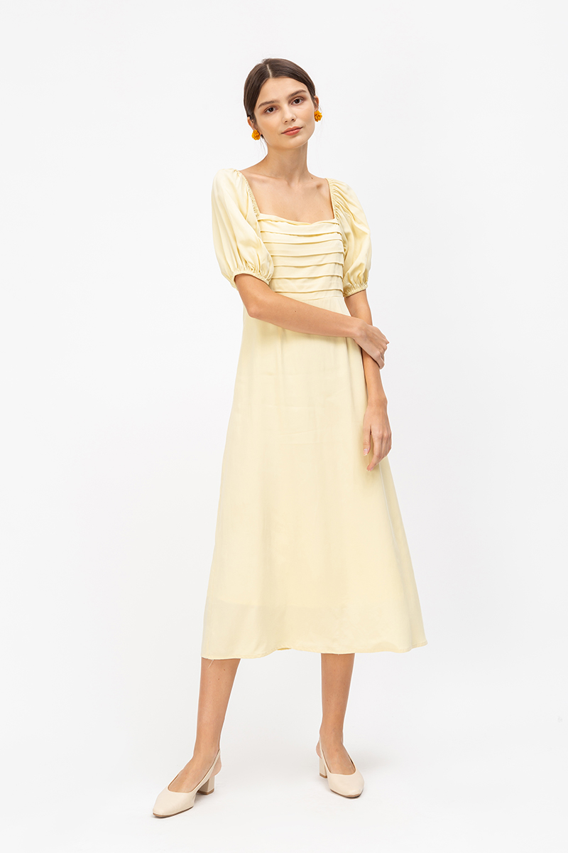 SHAE PANEL PUFF SLEEVE MIDI DRESS