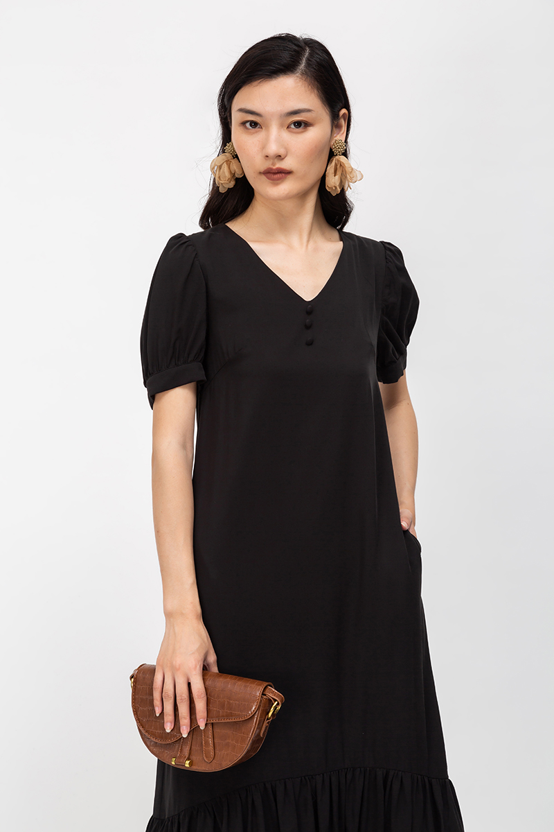 ELOISE TENCEL PUFF SLEEVE DROPWAIST DRESS
