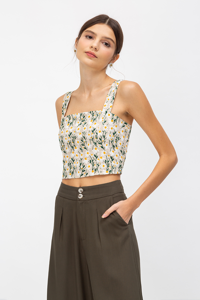*BACKORDER* JALISA DAISY EMBROIDERY CROP TOP