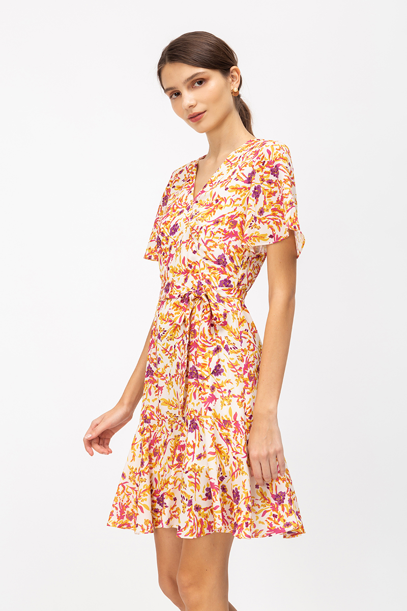 DALNA FLORAL ABSTRACT DRESS W SASH