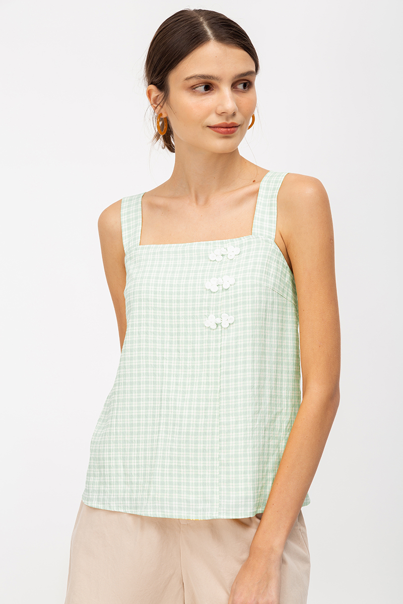 ELISE CHINESE BUTTON CHECKERED TOP