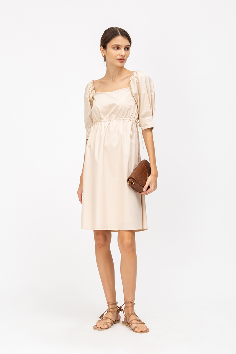 LANELLE POPLIN TIEWAIST FLARE DRESS