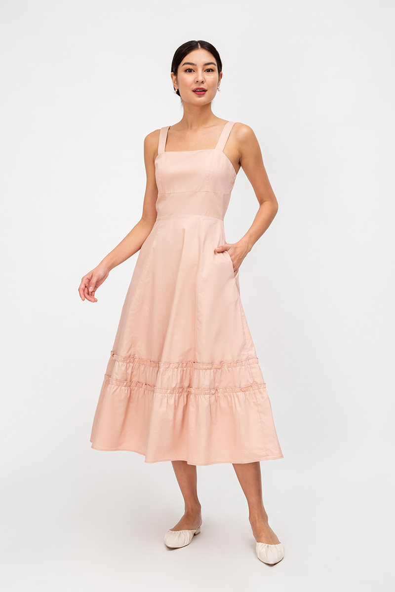 KEISHA RUFFLE MIDI DRESS