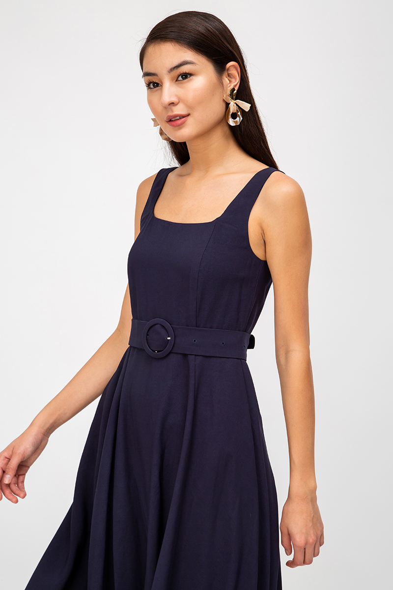 BRIELA SQUARENECK SWING DRESS W BELT