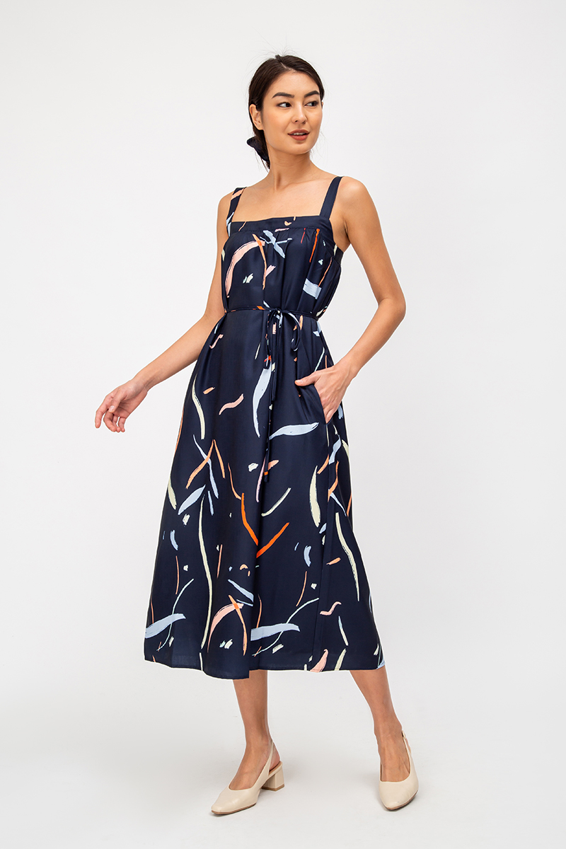 *BACKORDER* KOKO PAINTSTROKE MIDI DRESS W SASH