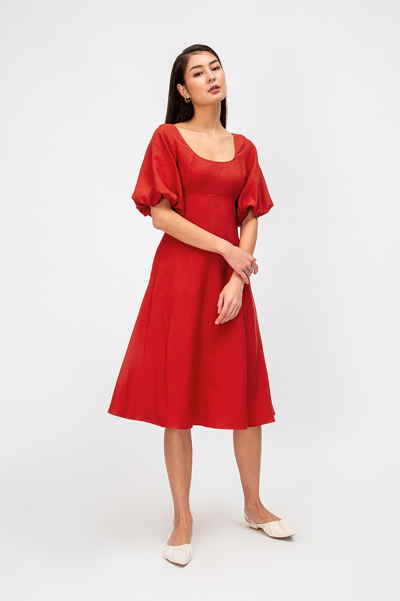*BACKORDER* YVETTE PUFF SLEEVE MIDI DRESS