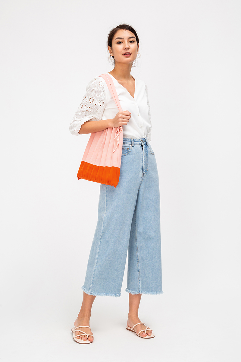 COLETTE PLEATED KNIT TOTE