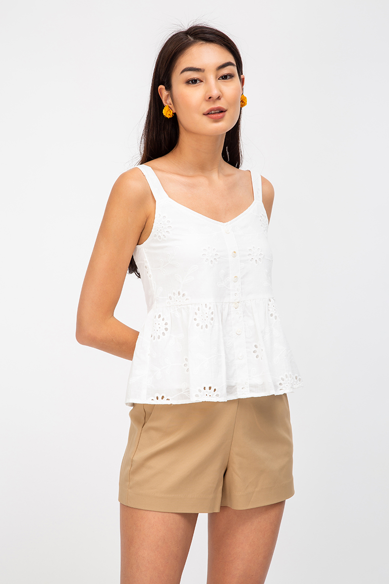 SHELBY EYELET BABYDOLL TOP