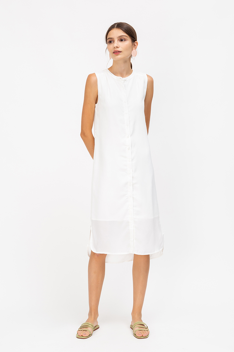MIRLEY BUTTONDOWN MIDI DRESS W SASH
