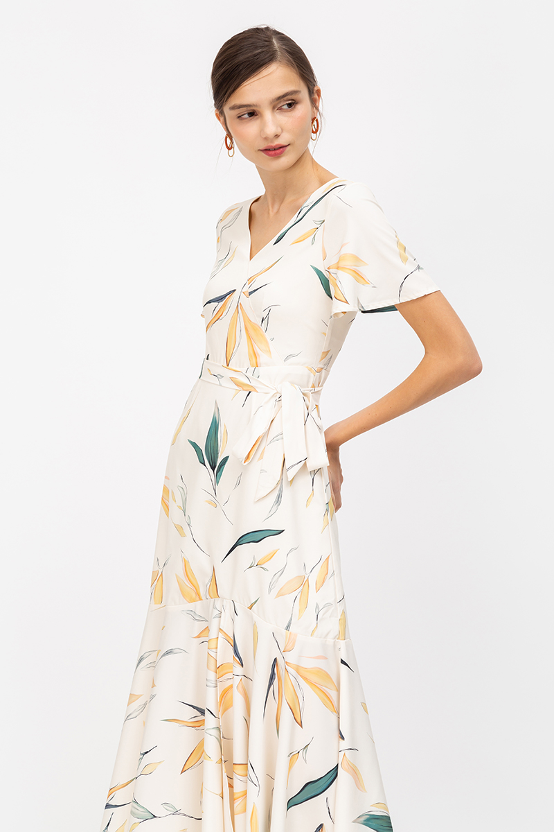 *BACKORDER* RANDELLE BOTANICAL PRINT MAXI DRESS W SASH