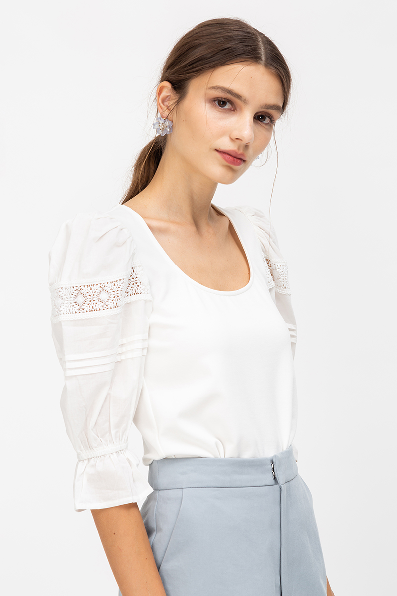 MIKO CROCHET PUFF SLEEVE TOP