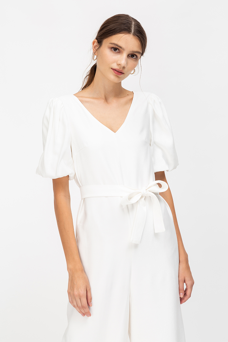 MORGAN PUFF SLEEVE JUMPSUIT W SASH