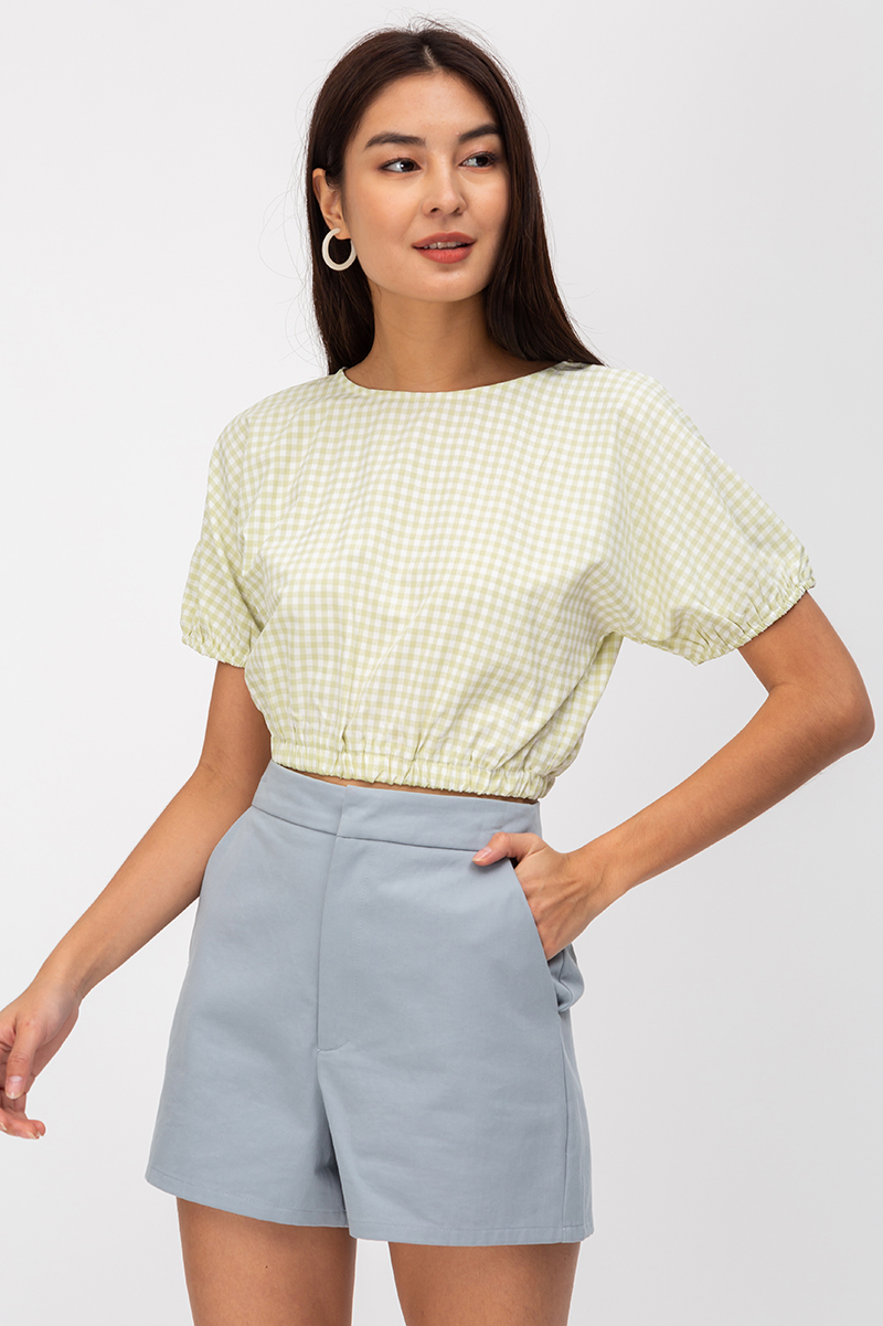 CLAUDETTE GINGHAM DOTTED PUFF SLEEVE TOP