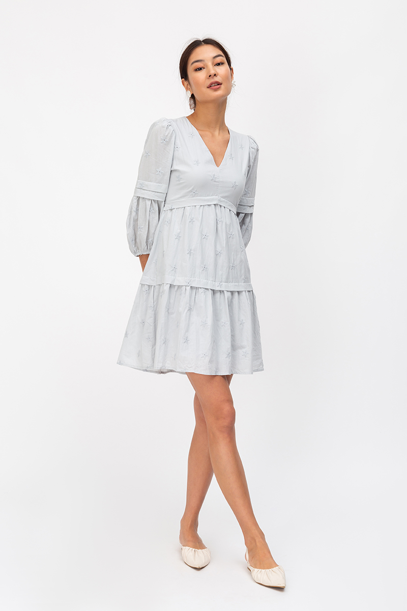 DEANNA EMBROIDERED PUFF SLEEVE TIERED DRESS