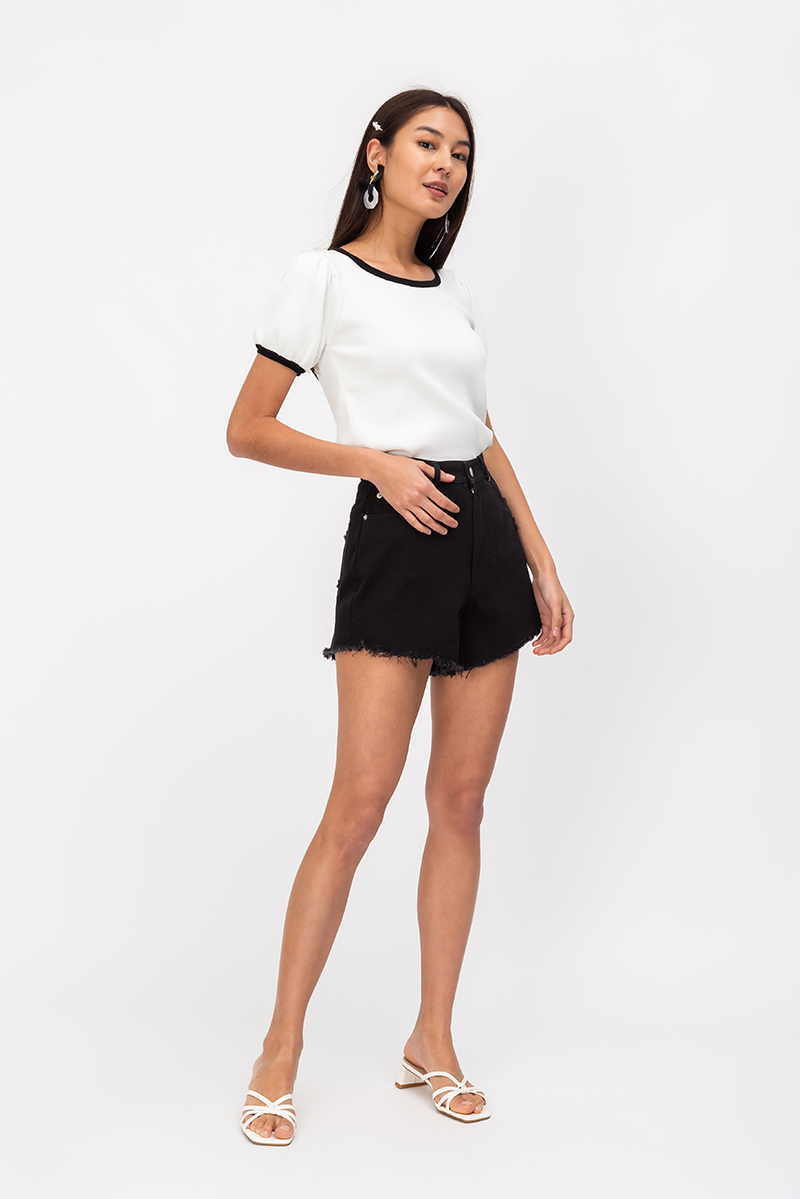 CHANELLE CONTRAST PIPING KNIT TOP