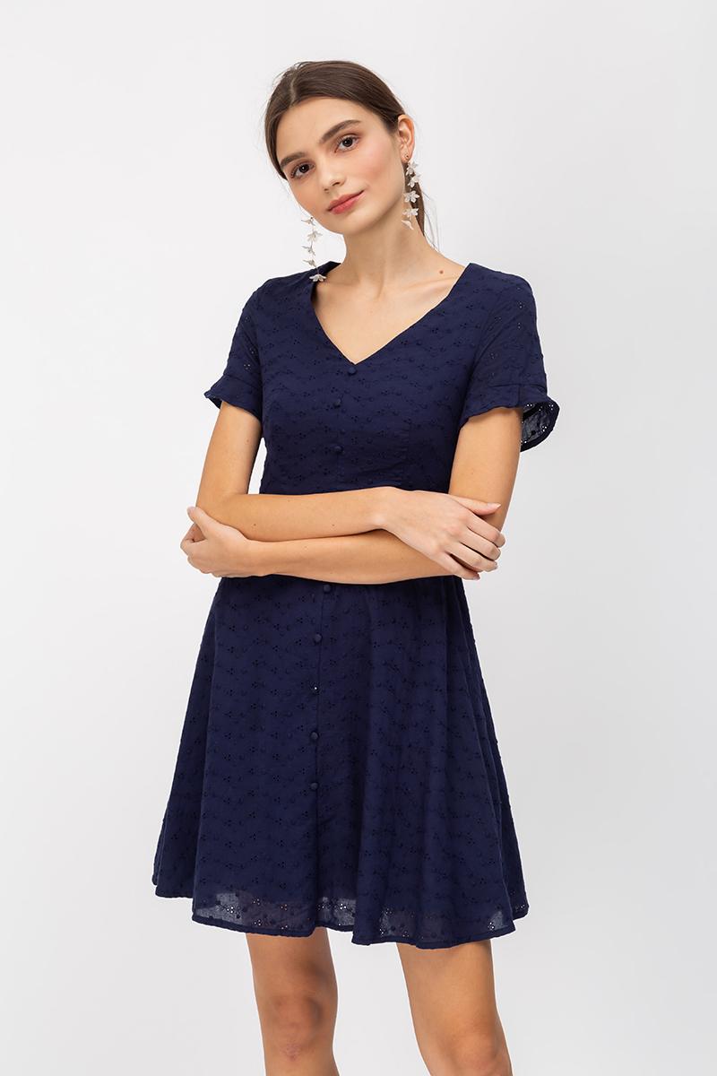 KATLYN EYELET FIT FLARE DRESS