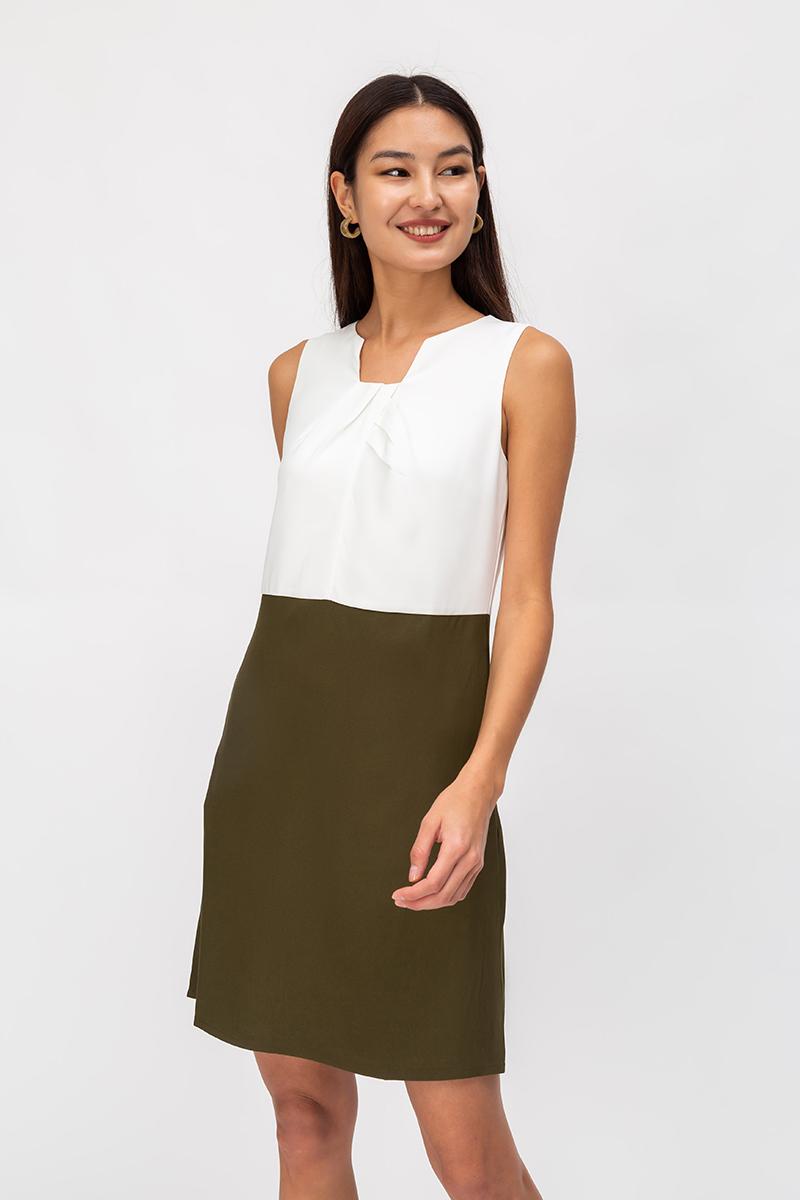 FANNIE PLEATED NECKLINE COLOURBLOCK SHIFT DRESS