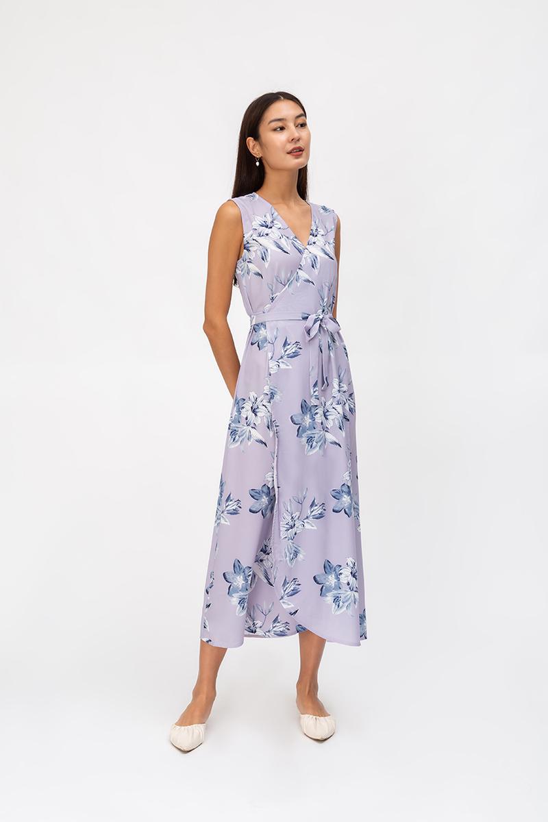 CELINE FLORAL WRAP MAXI DRESS