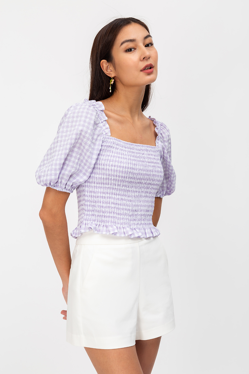 ELIESE GINGHAM SMOCKED TWO WAY TOP