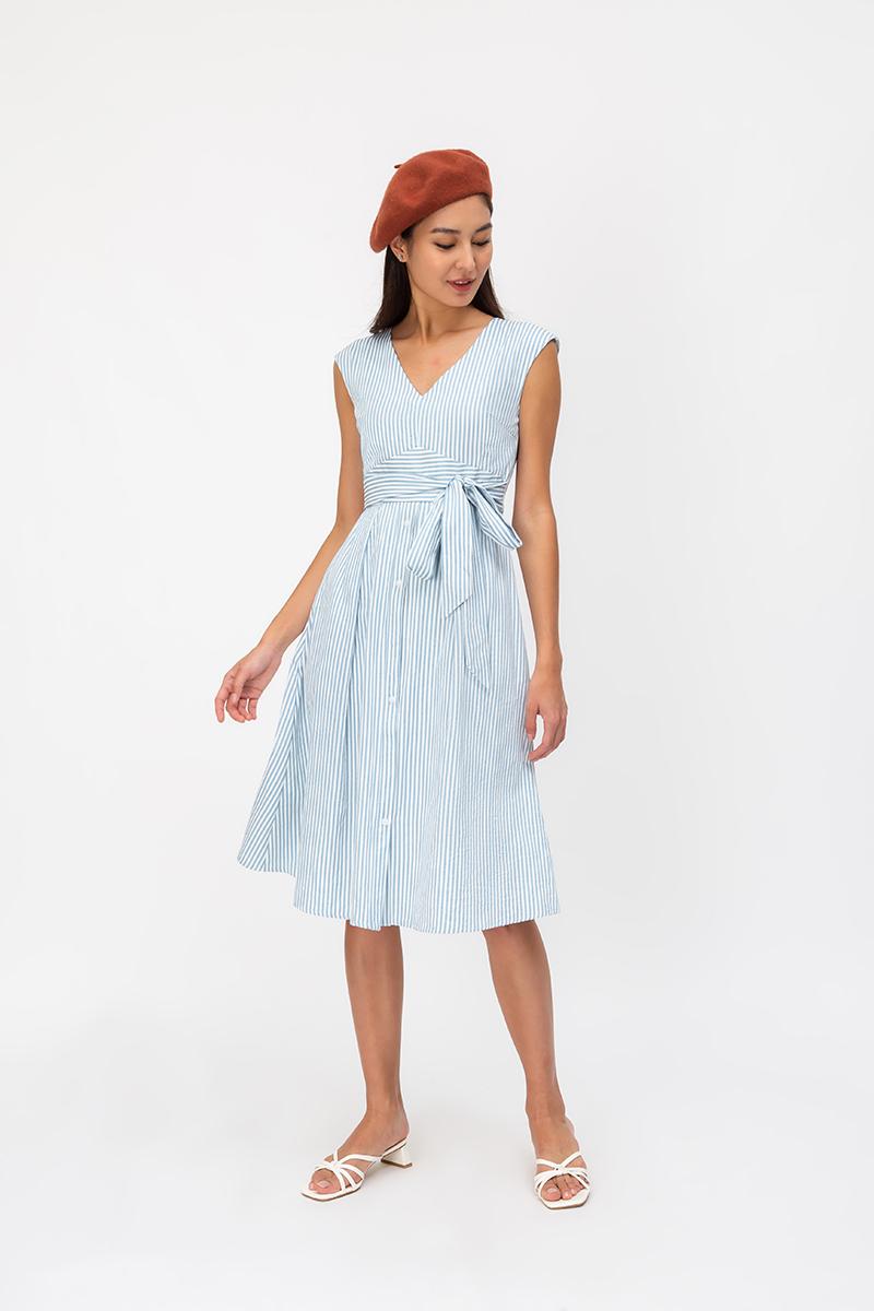 BEXLEY STRIPE FIT & FLARE DRESS