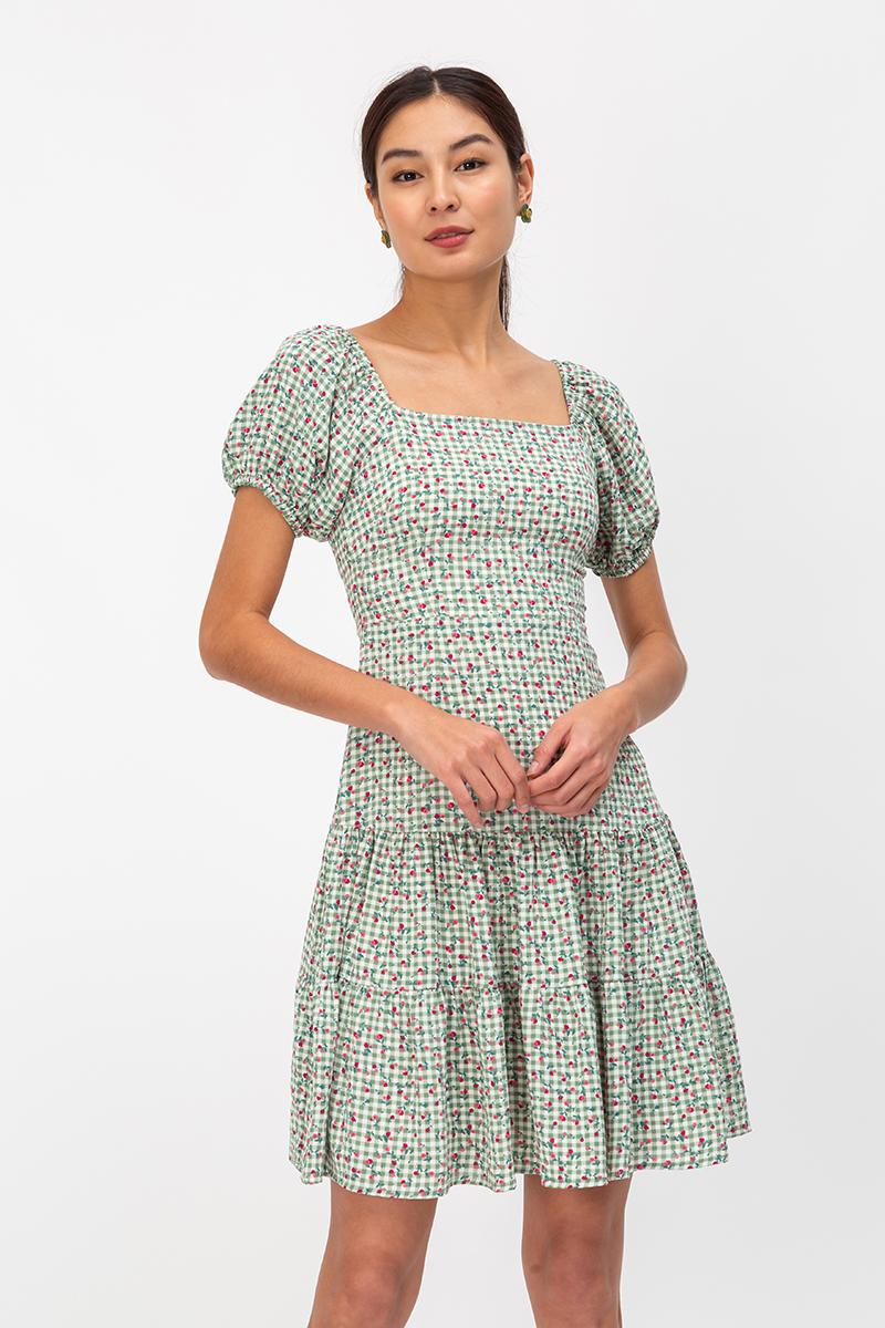 KIKO FLORAL CHECKERED TWOWAY DRESS