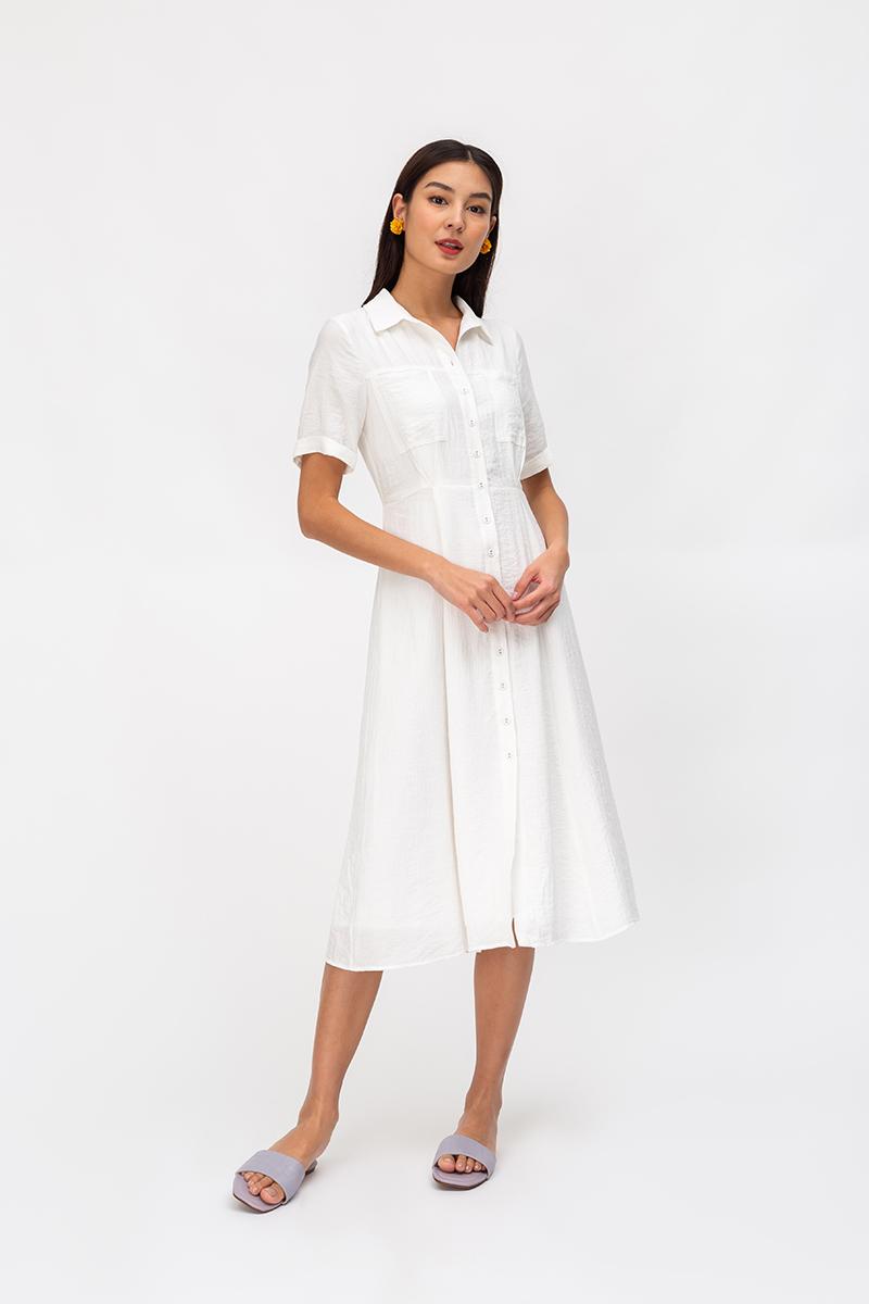 *BACKORDER* HOLLAND TEXTURED BUTTONDOWN SHIRT DRESS