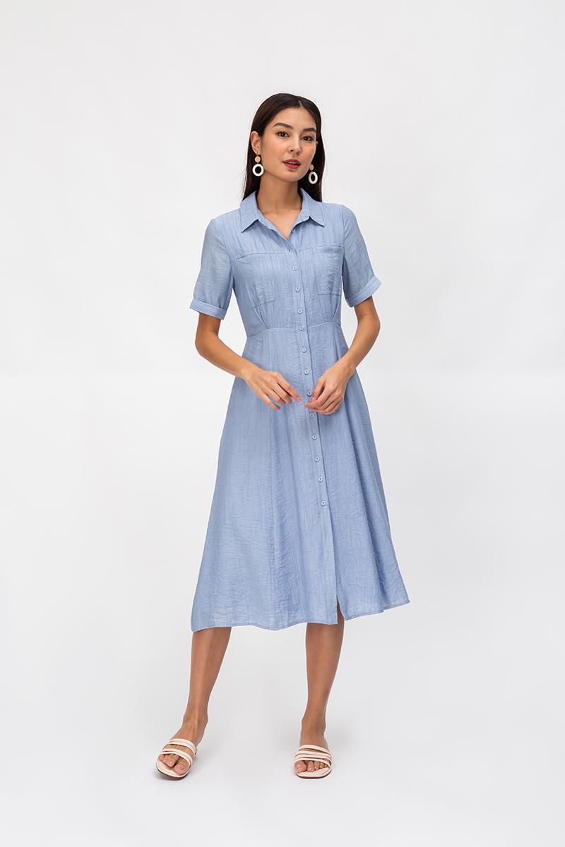 HOLLAND TEXTURED BUTTONDOWN SHIRT DRESS