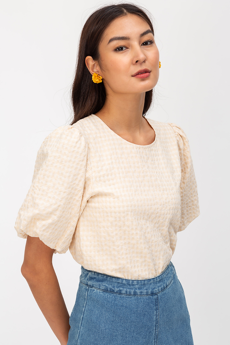 MITCHELL GINGHAM PUFF SLEEVE TOP